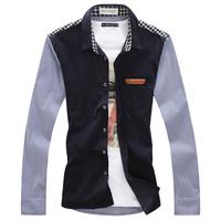 Patchwork fashion casual plus size male shirt
