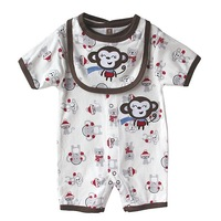 5pcs Wholesale,Original Carter's Baby Boys Monkey Short Sleeve Romper, Jumpsuit With Bib,Freeshipping ( IN STOCK)