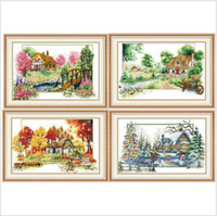 Topgrade Four Season Scenery Counted Cross Stitch Kits Four Pieces