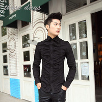 Personalized long-sleeve shirt pleated slim fashion clothes male summer clothes