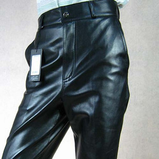 Casual PU windproof thermal male leather pants male leather trousers loose men's motorcycle pants plus velvet plus size