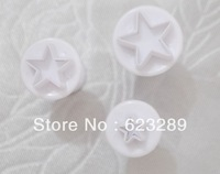 Free Shipping 3 Pcs/Set Star Cake Decorating Plunger Cutter Fondant Mold Sugar Craft DIY Tool