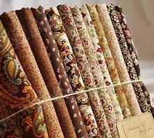 25 CM x 24 CM ROYAL DIY 100% algodão 12 de design mix brown flor rosa pena tecido patchwork têxtil de alta qualidade navio livre(China (Mainland))