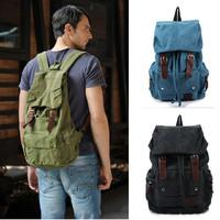 Large Vintage Canvas Leather Hiking Travel Military Backpack Messenger Tote Bag#