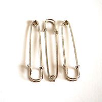 50 Safety Pins in Platinum Finishing, Size 60*12mm Kilt Pin Brooch Findings