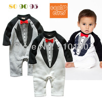 New arrivals 3pcs/lot Baby Boy Smart Tuxedo (Clothes+pants+Bowtie in One Piece) long sleeve Bodysuit Toddler gentleman romper
