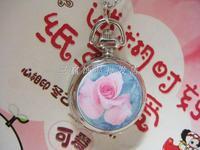 Beautiful exquisite flower enamel pocket watch pocket watch necklace rahb275