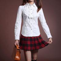Preppy style fashion plaid slim woolen skirt pleated short skirt