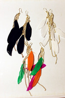 Fashion gold chain hippie three-color color block tassel feather earrings