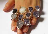 R005 Natural Amethyst Druzy /White Druzy Geode Crystal Ring Adjustable (Min size : US size 7.5 )