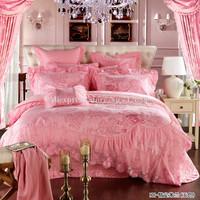 hot selling romantic wedding bedding sets pink jade floral 10pcs king embroidered duvet/comforter covers and filling bedlinens