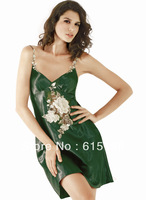 New silk pajamas sexy lady dress night skirt underwear lingerie Sleep Skirt Night Skirt  lace dress green color SW044