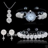 925 silver snake chain Luxury shamballa set white 10mm crystal disco ball necklace pendant Bracelet Earrings Watch Bracelet sets