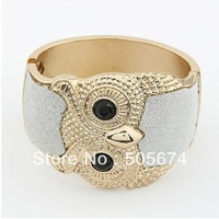 Stylish Women's Punk Metal Retro Tone Owl Open Hand Bangle Bracelet Cuff Gift