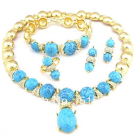 Turquoise blue fashion gold bridal jewelry set super quality gold african big  jewelry sets jewery wedding costume jewellery