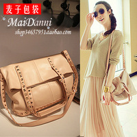 2013 nude color rivet folding magicaf bag portable one shoulder big bag female bags