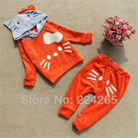 New Soft Girls 2-Pieces Set Children Suit Summer Winter Clothing Hello Kitty Hat children's Coats +Pants Set