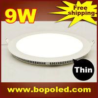 Free shipping BOPO Ultra-thin high-brightness LED Panel light SMD2835 110~265V Circular White aluminum 9W IP30 Ceiling light