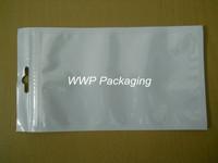 Wholesale 10*18cm White/Clear Self Seal Zipper Plastic Retail Packaging Poly Bag, Zip Lock Bag Retail Package W/ Hang Hole