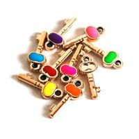 100 Enamel Key Charms in Random Mixture Colors