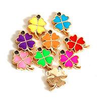100 Enamel Clover Charms in Random Mixture Colors