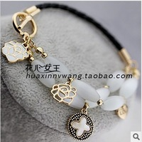 Min.order is $15 (mix order)2013 Artificial opal clover bracelets and bangles,Gold plated rose charm bracelets for women S5021