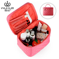Fog flower spring and summer plaid professional cosmetic bag super large capacity portable cosmetic bag storage bag