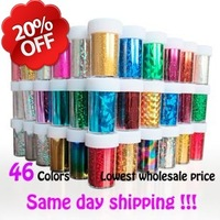 New Nail Art Transfer Foils Set Free Adhesive Acrylic Gel  60rolls/lot Nail Art Sticker Tips Decoration Free shipping