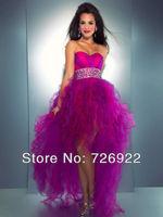 2013 New Arrival Cute Beaded Ball Gown Purple Asymmetrical Prom Dress Fast Shipment Custom