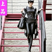 Fashion Sexy Faux Leather Boots Pants Skinny Patchwork seamless leggings Black Free Shipping