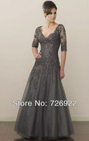 2013 Modest Style Custom Floor Length Grey Tulle Mother Of The Groom Dress With Sleeves 2013 Free Shipping