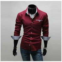 Free shipping a new men's shirts, fashionable man bands personalized slim shirt color: white, black, wine red, size: M-XXL