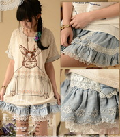 2013 summer plus size loose mid waist casual patchwork lace denim shorts