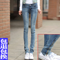 Plus size clothing jeans trousers zipper female trousers skinny pants female summer elastic pencil pants