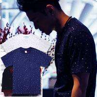 Free shipping 2013 male nic polka dot T-shirt male short-sleeve