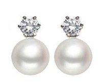 free shipping zircon inset white gold plated 8-9mm AAA grade fresh water pearl stud earrings natural pearls jewelry