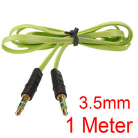 Free Ship ( 10 piece / lot ) 1M 3.5mm Audio Flat Male to Male Stereo Car Audio Cords AUX Cables for PC iPod mp3 Mobile iphone