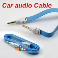 Free Shipping ( 10 piece / lot ) 1M 3.5mm Audio Flat Male to Male Stereo Car Audio Cords Cables for iPod mp3 Mobile iphone LS-2