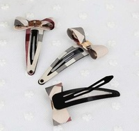 Free shipping wholesale 2013 newest British style plaid cute bownot hairpins hair clips for kids women girls barrettes grips