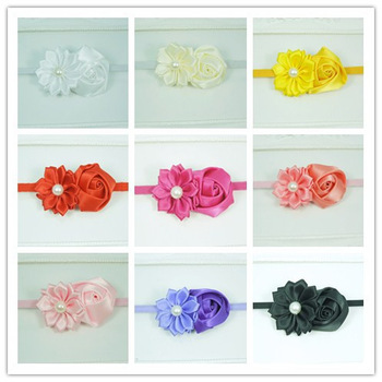 Baby Thin elastic headband with Satin Ribbon rolled flower Satin flower skinny headband girls hair accessories 300pcs/lot