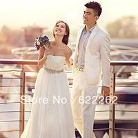 Fashion Elegant A Line Strapless Floor Length White Chiffon Beaded Belt Beach Wedding Dresses Bridal Dresses Custom Made