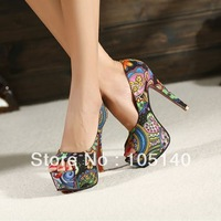 Free shipping sexy red bottom high heels platform pumps women sandals 2013 ladies shoes woman flowers print open toe