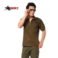 Free Shipping Clothes 3036 Army Green men's zipper 100% cotton t-shirt short-sleeve T-shirt