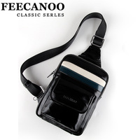 Feecanoo chest pack male bag genuine leather man bag fashion backpack bag messenger bag