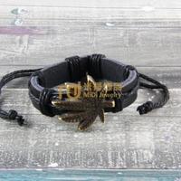 12pcs Factory Outlet Almaty Jewelry Leather Bracelet Popularity Pure Handmade Bangle Hemp Leaf B0412