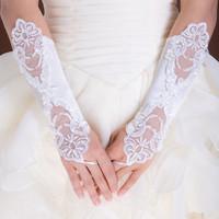 The bride wedding dress formal dress decoration lace fingerless mittens lace double slider flower gloves