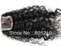 "Free shipping middle part Swiss lace closure size 4""*4"",16"" Malaysian deep curly"