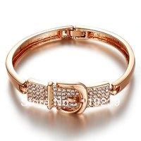 AA9  New Arrivals 2013 Hot Item 18K Rose Gold Plated Crystal Belt Design Cuff Bangle / Bracelet  Fashion Women Jewelry