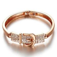 AA9 New Arrivals 2013 Hot Item 18K Rose Gold Plated Crystal Belt Design Cuff Bangle Bracelet