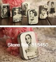 Free Shipping! 12pcs/lot Audrey Hepburn painting series Mini Tin Box Retro Metal Jewelry Case Storage Case 6 styles